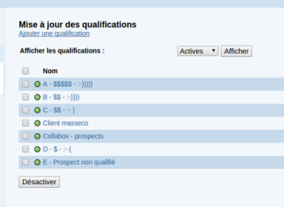 Capture du qualification contacts