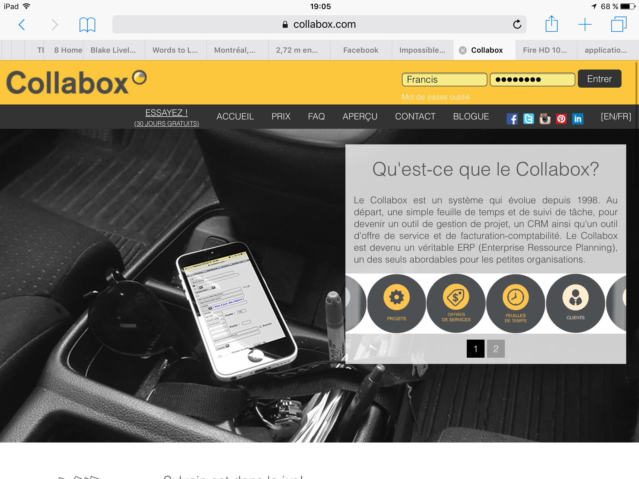 Collabox sur tablette
